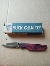 Vintage Buck Knife Lighting Hta I 170 Linerlock Knife, Serrated, 2-Tone Red/Blac