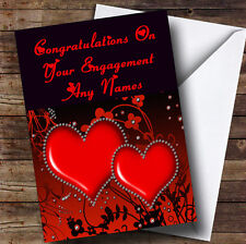 Red Diamond Heart Romantic Personalised Engagement Greetings Card