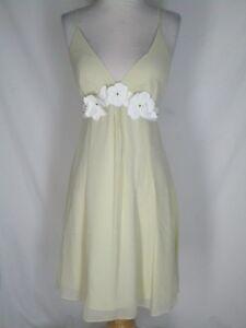 Beth Bowley Ecru Silk Chiffon Dress 8 White Leather Flowers
