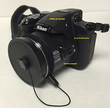 SLIP-ON FRONT LENS CAP DIRECTLY TO CAMERA NIKON COOLPIX P600 P610 P 600 + HOLDER
