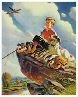 "ORIGINAL VINTAGE CALENDAR PRINT 1940S LITHOGRAPH FISHING AIRPLANE BOY DOG 8X10"""