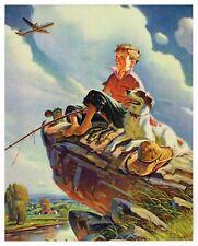 "Genuine Vintage Calendar Print 1940S Lithograph Fishing Airplane Boy Dog 8X10"""