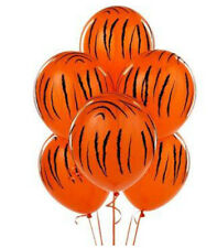 Tiger Striped Orange Balloons x 6 Jungle Safari Zoo Animals Party Decoration