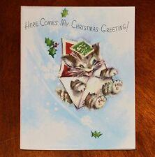 Vintage UNUSED Christmas Card 1948 MARJORIE COOPER KITTEN CAT MAIL RUST CRAFT