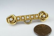 Fine Quality Antique Victorian English 18K Gold Pearl Knot Bar Brooch c1890