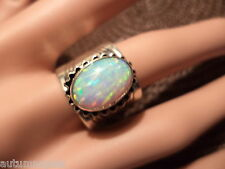 Beautiful (6) Vintage Begay Navajo (RB Sterling) Large Lab Opal Cigar Band Ring