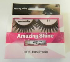 AMAZING SHINE HUMAN HAIR FALSE EYELASHES EYE LASHES - #61 - WITH ADHESIVE TUBE