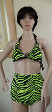 NWT GUESS green w black animal print halter bra S & high waist bottom M 2pc set