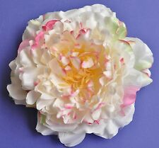 "6"" Pink & Cream Peony Silk Flower HAIR Clip BROOCH Pin Wedding Pinup"