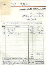 Facture NORD RADIO composants électroniques 1976 Casino Houlgate