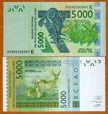 West African States, Senegal, 5,000 (5000) Francs, 2003 (2007) P-717K, UNC