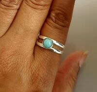 Larimar Solid 925 Sterling Silver Anxiety Ring Meditation Ring SR077713