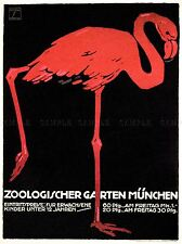 CULTURAL ZOO FLAMINGO MUNICH BAVARIA ANIMAL BIRD EXHIBIT POSTER 1637PYLV
