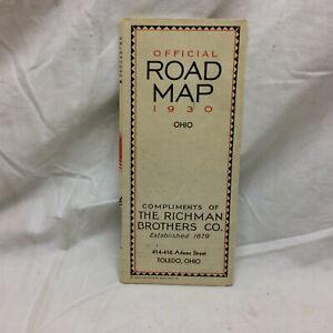 Vintage 1930 Advertising The Richman Brothers Co. Ohio Road Map Toledo Ohio