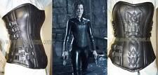 under wold black Genuine leather corset steel bonE and bodyshaper Leder Korsett