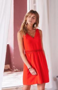NEW SEZANE 6 38 Daniela Red Dress Lace Trim A Line Minidress Crochet V Neck US 6