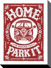 Home Is Where You Park It Box Canvas Print 30 x 40 cm VW campervan T2 T1 splitty