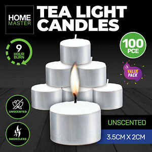 Home Master® 100PCE Tea Light Candles Home Decor Party Wedding 9 Hrs Burn Time