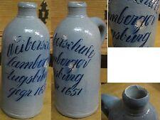 Stein Flasche Brauerei geritzt Augsburg Weiberschule Lamberger gegr. 1651