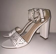 NEW JCREW LEATHER EYELET HIGH-HEEL SANDALS 8.5 SHOES f1317 $268 WHITE NEW