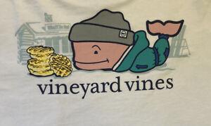 Vineyard Vines Boy's Waffle Hut Whale Long Sleeve White T-Shirt Size XL (18)