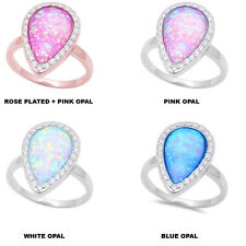 Multi Color Pear shape Halo Opal 925 Sterling Silver Engagement Promise Ring