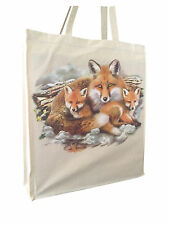 Stunning Fox with Cubs Natural Cotton Shopping Bag Long Handles Perfect Gift