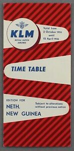 KLM ROYAL DUTCH AIRLINES NETHERLANDS NEW GUINEA EDITION TIMETABLE WINTER 1955/56
