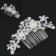 Women Wedding Bridal Diamante Crystal Rhinestone Flower Pearls Hair Comb Clip AU