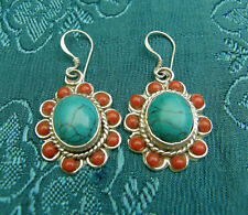 Silver Earrings from Nepal Lotusflower from Turquoise and Coral
