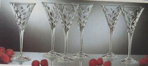 RCR Royal Crystal Rock Laurus 24% Lead Crystal Wine Glasses Set of 6 Pcs In Box