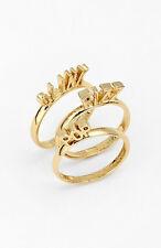 NWT Kate Spade New York 'pop the cork' set of 3 gold rings Pop Clink Fizz 7