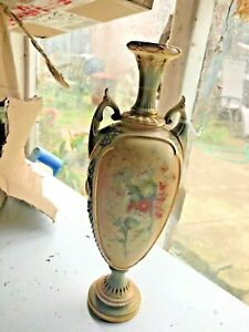 """Rare Royal Worcester Vase Hand Painted Thistle Design Approx 12"""""""