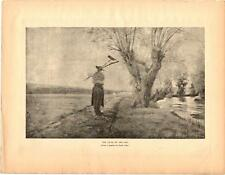 """1885 """"The Close of the Day"""" by Emile Adan - Antique Vtg  Print 13x10"""""""