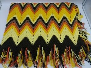 Vintage Chevron Orange Brown Yellow Crochet Afghan Blanket Zig Zag Fringe 75x44