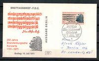 Berlin, FDC 250 Jahre BB Konzerte MiNr. 392 ESSt Berlin 14.07.1971 echt gelaufen