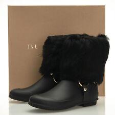 Burberry Harbor Black Rubber Fur-Cuff Harness Boots - Women's 6 US (36 EU)