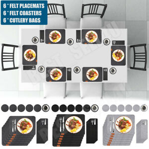 Set Of 18PCS Felt Place Mats And Coasters Table Placemats Cutlery Holder Pocket