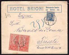 STORIA POSTALE Terre Redente 1919 Espresso da Brioni Pola a Trieste (FST)