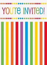 8 x Rainbow Invitations With Envelopes Adult Birthday Party Supplies Invites