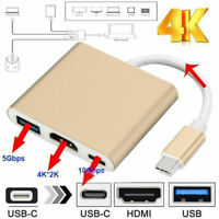 Type C USB 3.1 USB-C 4K HDMI USB 3.0 Adapter Cable 3 in 1 Hub For Macbook Gold