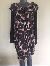 X-TWO Dress Tunic 16 XL Animal Print Round Collared Shift Sislou W18