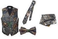 NEW Mens Camouflage Tuxedo Vest Tie Formal Wedding Camo Green Tuxedos SALE Groom