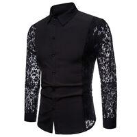 Men's Crochet Flower Lace Long Sleeve Shirt Blouse Top Party Wedding Slim Casual