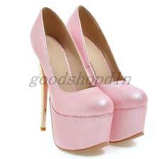 2017 Ladies Platform Stilettos High Heels Pumps Round Toe Party Slip On Shoes UK