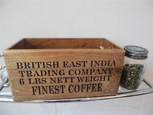 VINTAGE STYLE WOODEN BOX STORAGE CRATE BRITISH EAST INDIAN TRADING FINE COFFEE