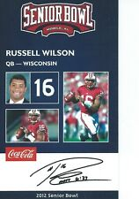 Russell Wilson Rare Senior Bowl Rookie Seattle Seahawks Wisconsin Badgers Nc St