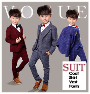 Boys Suits 4 Piece Wedding Suit Prom Page Boy Baby Formal Party 3 Colours