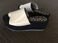 GORMAN flatform mule sandals SIZE 36 white/navy