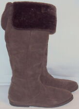 SISLEY, LADIES BROWN LEATHER SUEDE INVERTED ZIPPER KNEE HIGH BOOT, SIZE 35 M